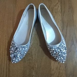 Silver metallic flats with bling